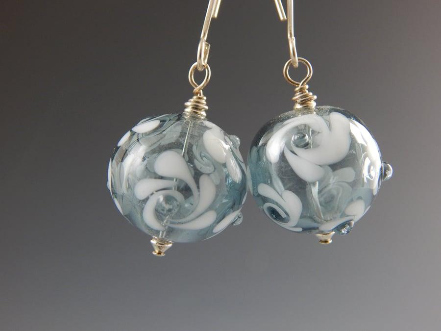 Image of Artisan Glass • White Swirls on Transparent Glass Hollows