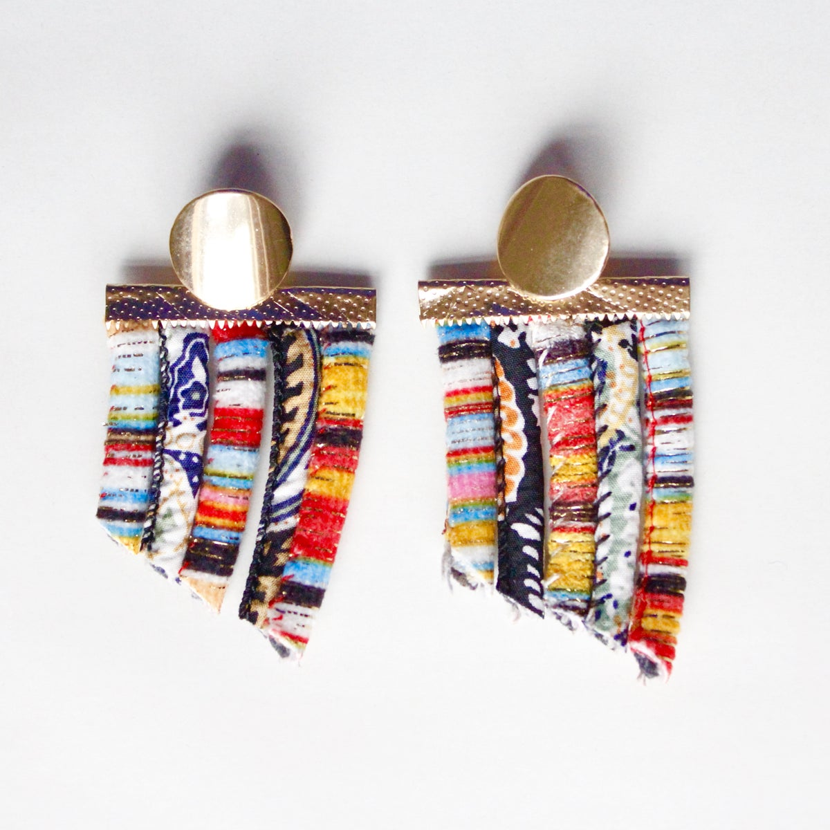 Image of ASILI - Multicolored Rope Statement Earrings – Orange