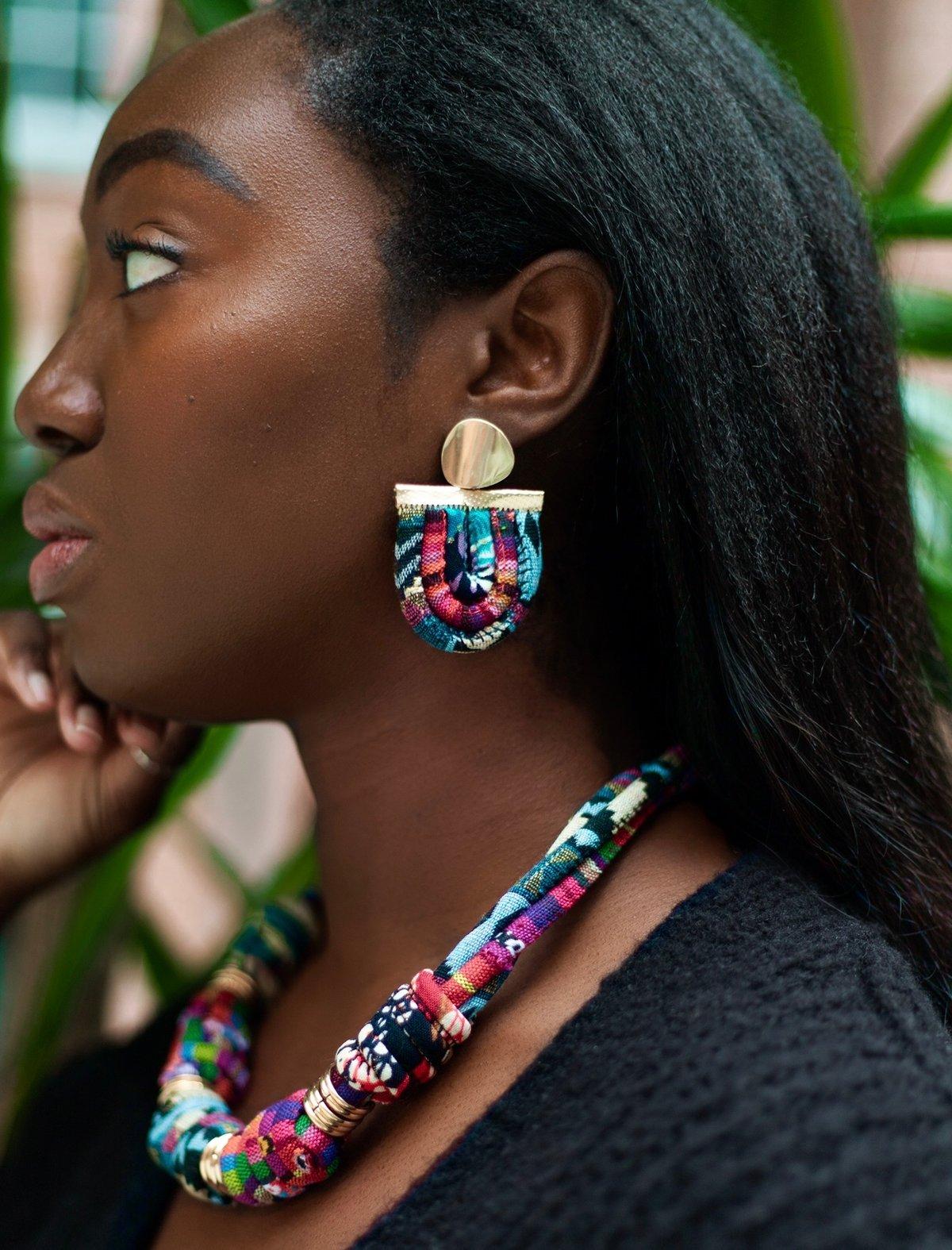 Image of ASILI - Multicoloured Rope Statement Earrings – Fuchsia