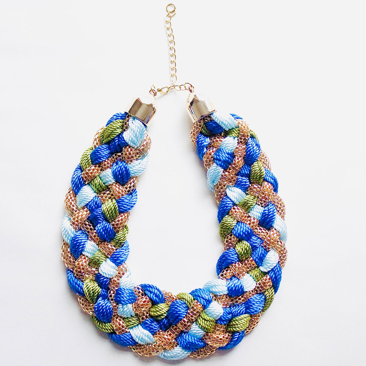 Image of ASILI – Blue, Green & Gold Woven Rope Statement Necklace