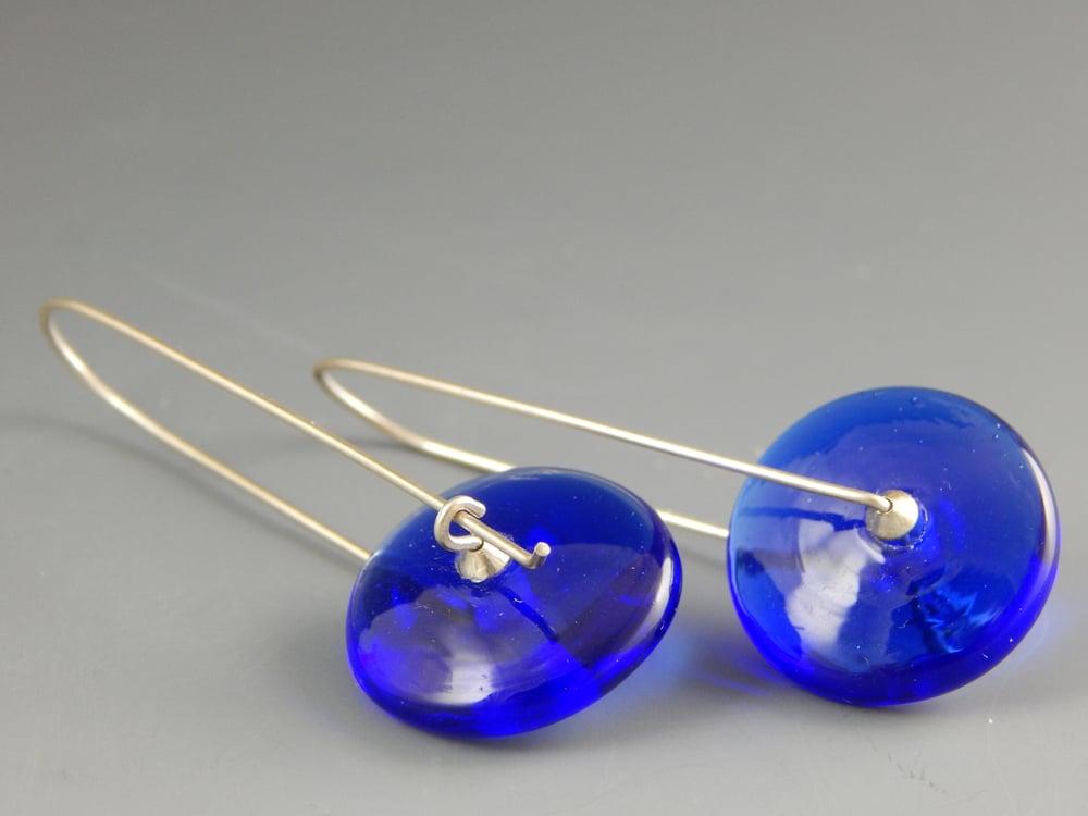 Image of Artisan Glass • Modern Disk Earrings in Blue
