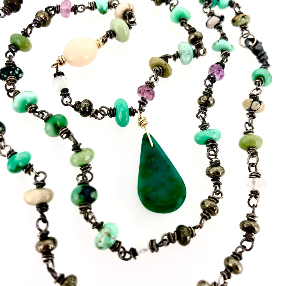 Image of New Lander variscite, pink sapphire and turquoise necklace