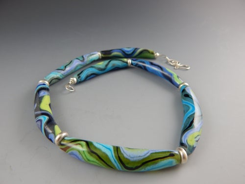 Image of Artisan Glass • Curved Curves in Greens & Blues