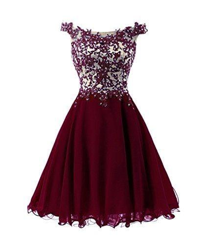 Off Shoulder Wine Red Chiffon Short Prom Dress, Homecoming Dresses
