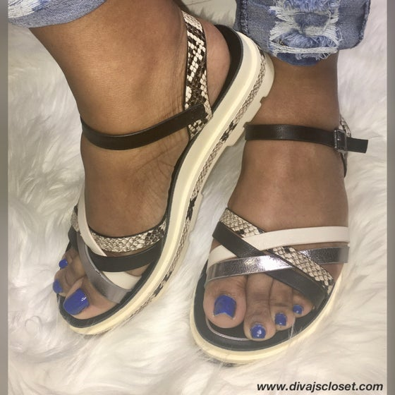 Image of Black & Cream Sandals w/Snake Skin Contrast