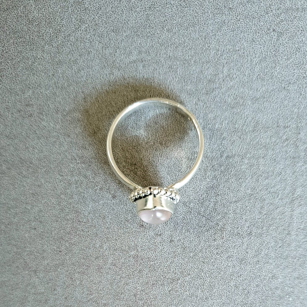 Image of ROSE QUARTZ Sterling Silver Boho Tear Drop Ring