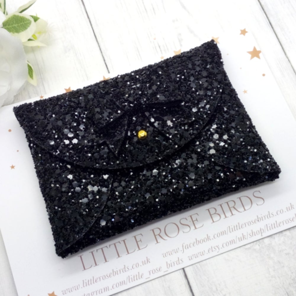 Image of Black Glitter Coin Purse