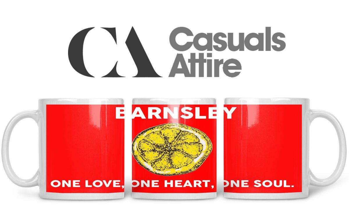 Barnsley football, casuals, ultras, fully wrapped mugs in various designs.
