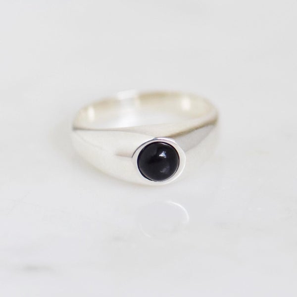 Image of Black Agate silver signet ring