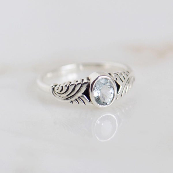 Image of Ocean Waves x Natural Aquamarine crystal oval cut silver ring
