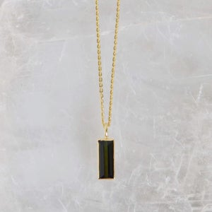Image of Premium Green Tourmaline regtangular cut 14k gold necklace