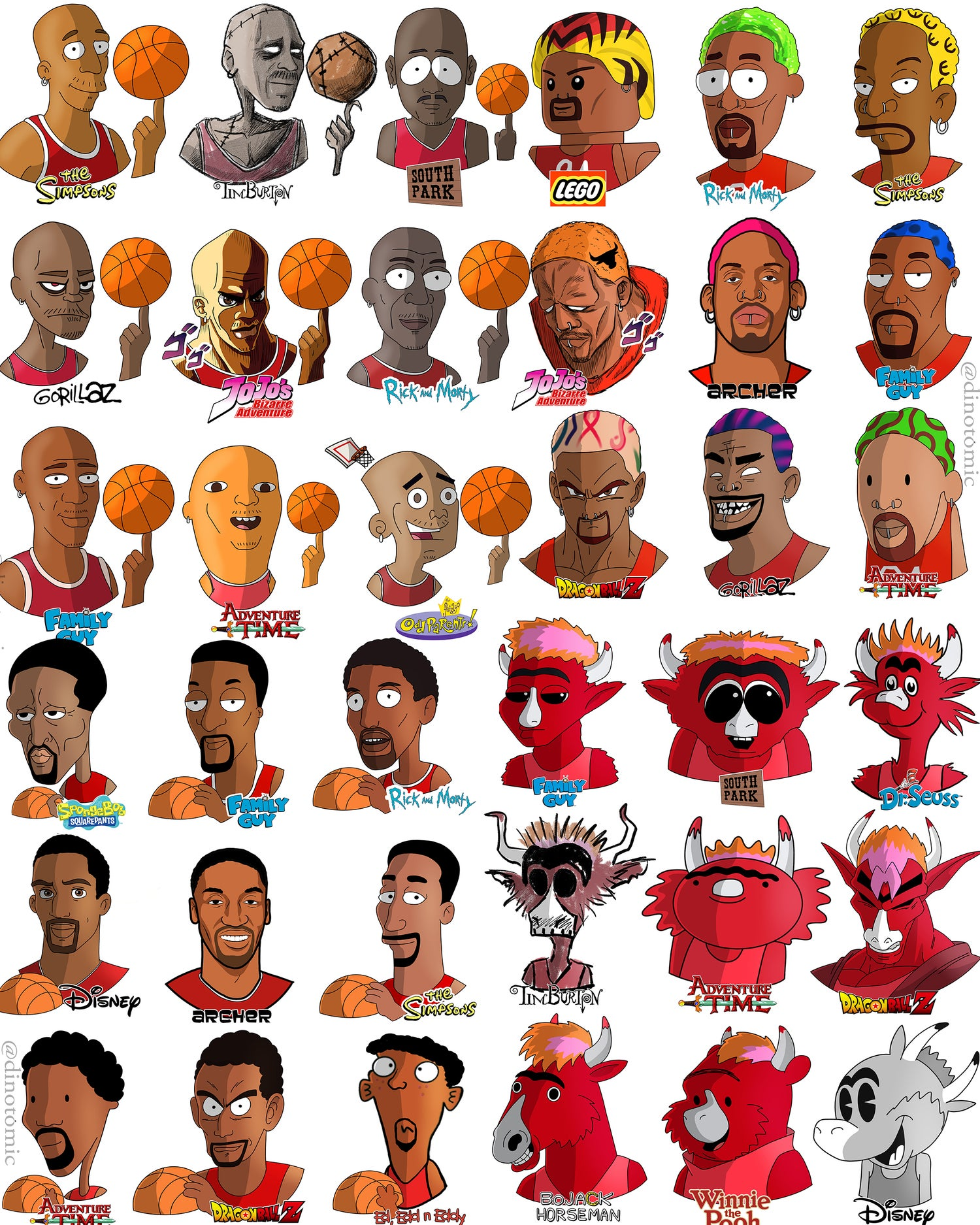 Image of #237 Chicago bulls multiple characters
