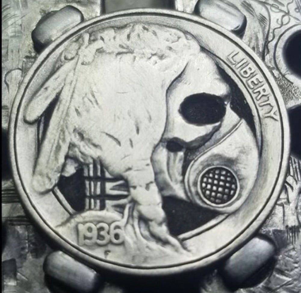 Image of Masked skull indian head buffalo nickel