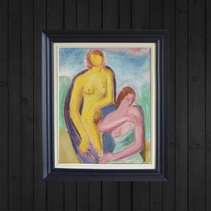 Image of Mid Century Swedish Expressionist Painting, 'The Bathers.'