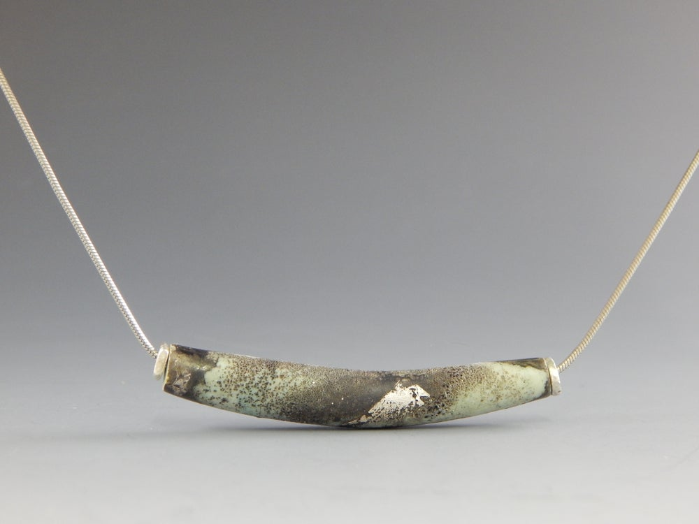 Image of Artisan Glass • Curved Tube Bead with Patina