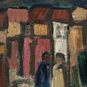 Image of Large, Mid Century, Swedish Oil Painting, 'Street Scene.'