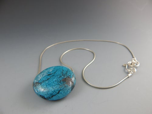 Image of Artisan Glass • Round Pendant with Copper Patina