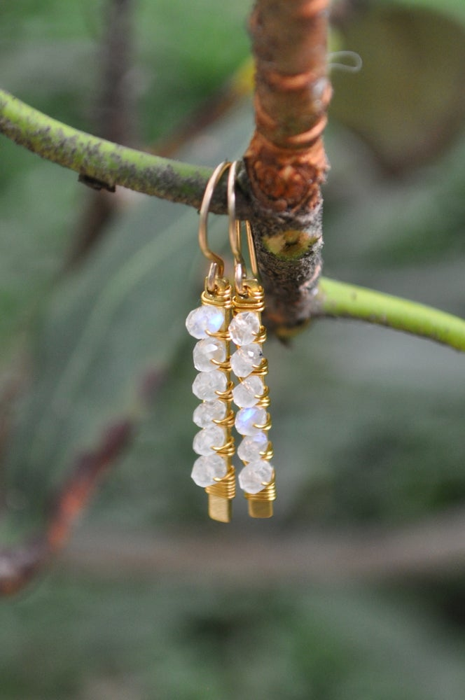 Image of Rainbow Moonstone Wrapped Bar Dangles