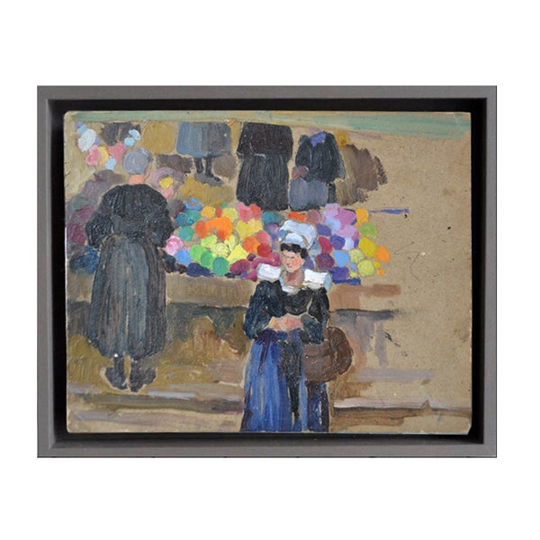 Image of Early 20th Century, French Painting, 'Breton Market.'