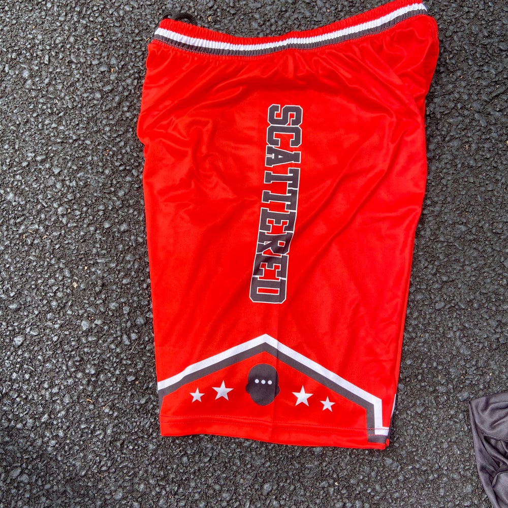 """Image of Scattered Basketball Shorts """"Red"""""""