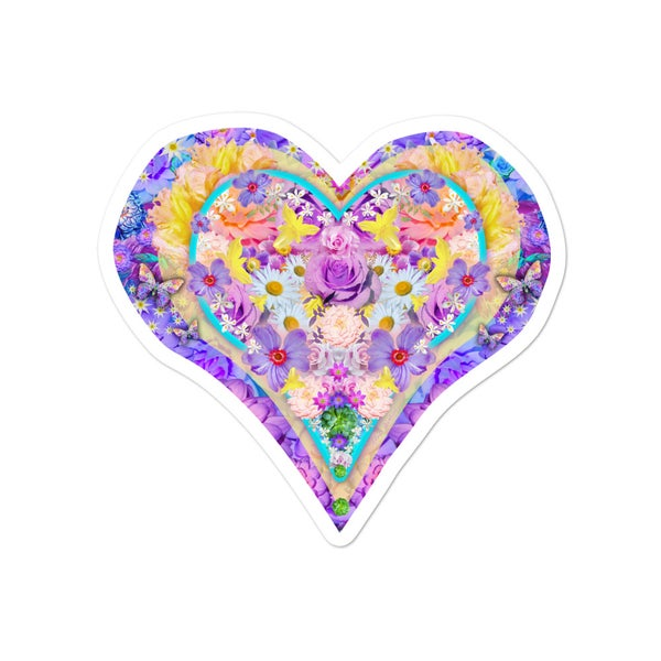 Image of Heart Love Flowers Sticker