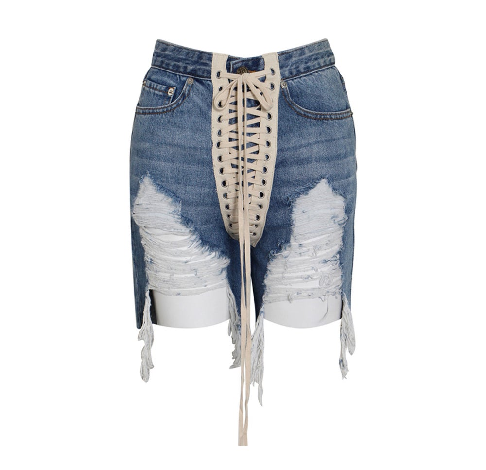 Image of LACE UP DENIM SHORTS