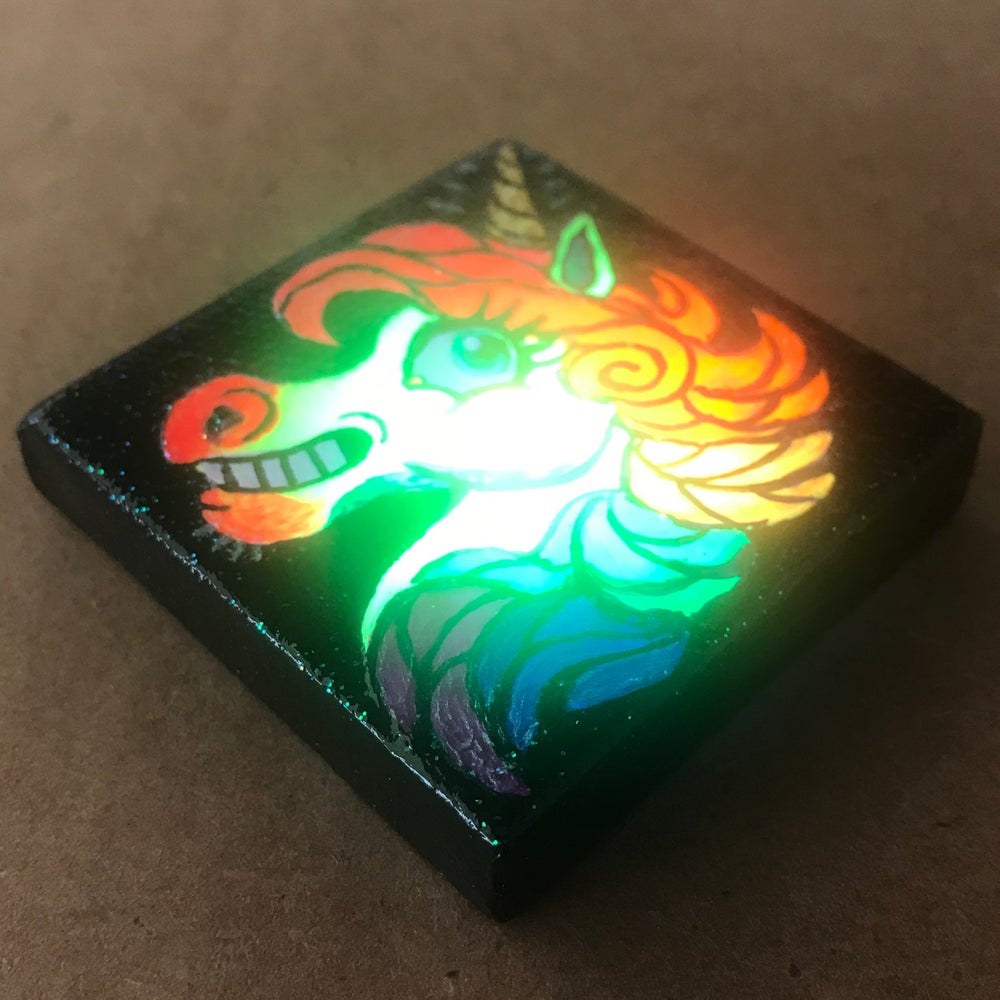 Image of Tiny Painting of a Neon Unicorn