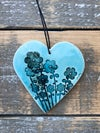 Teal floral heart