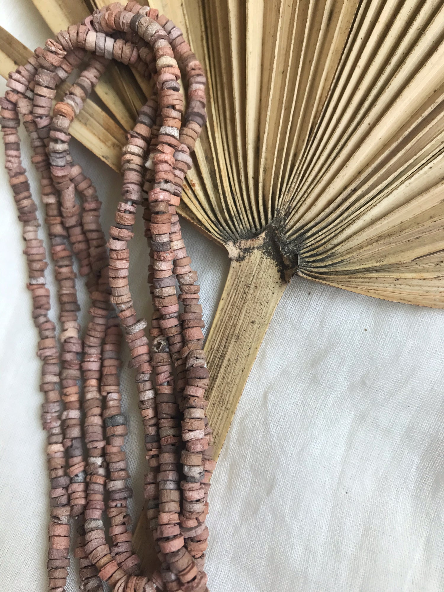 Image of LONG CLAY BEADED NECKLACE - PINK AND BROWN