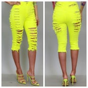 Image of Neon shredded shorts