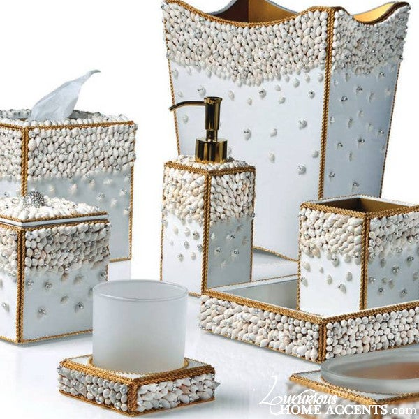 Image of Luxury White Bathroom Accessories Gold Shell