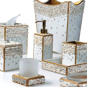 Luxurious Home Accents | Luxurious Wedding Accessories — Luxury White Bathroom  Accessories Silver Shell