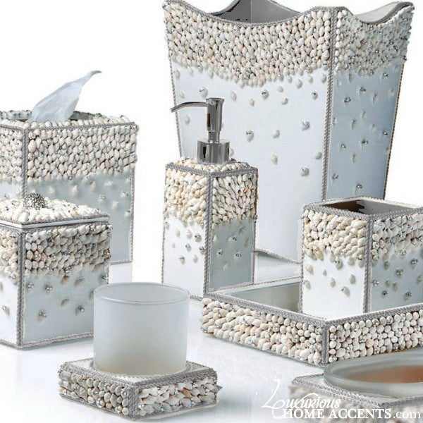 Image of Luxury White Bathroom Accessories Silver Shell