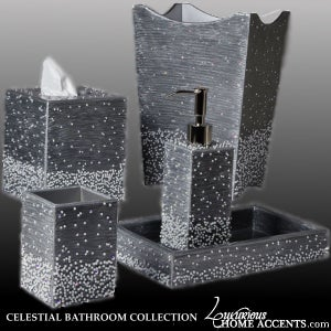 Image of Celestial Silver Gray and Pearl Luxury Bathroom Accessories