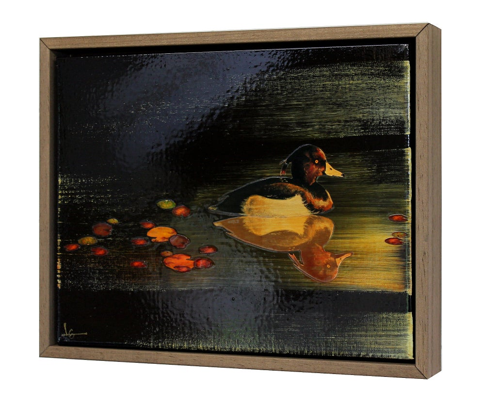 Image of Original Canvas - Tufted Duck on Black with Lily Pads