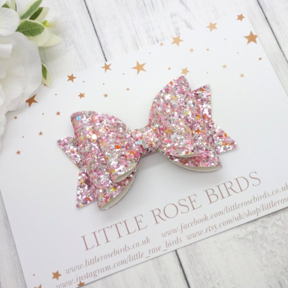 Image of Fairytale Pink Glitter Bow - Choice of Sizes