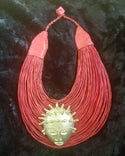 Leather stranded choker necklace with Brass Ashanti Bantu Knot Mask adornment