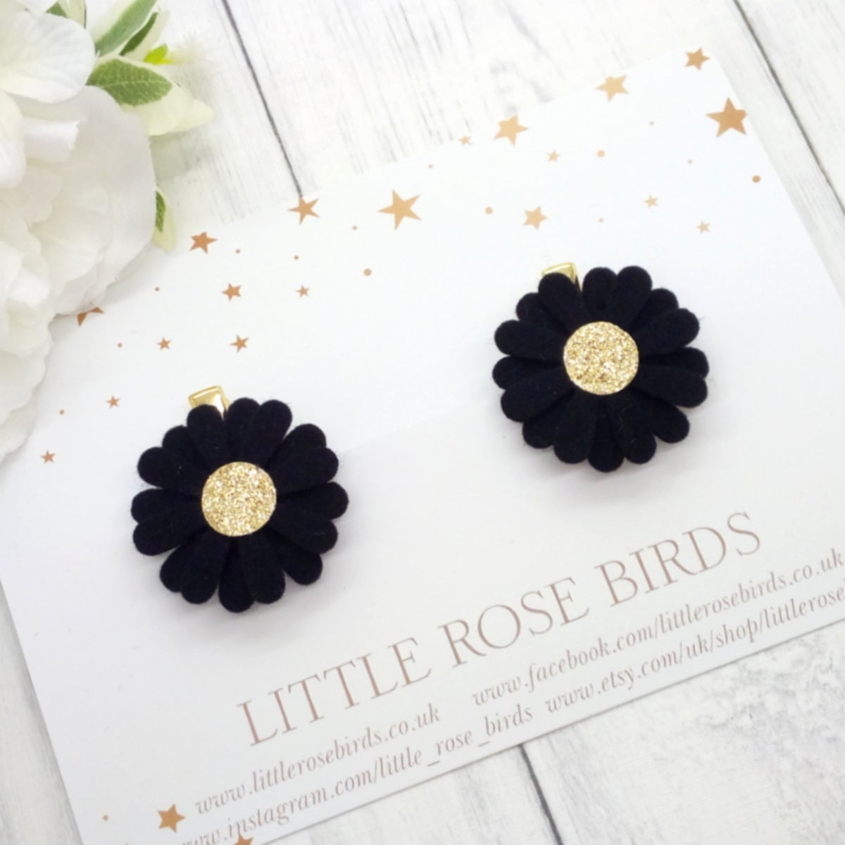 Image of Black & Gold Daisy Pigtail Clips