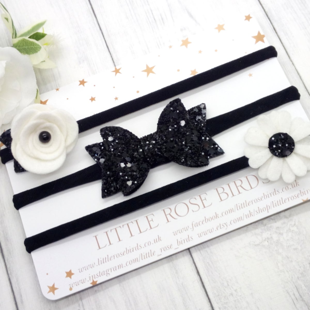 Image of SET OF 3 Black Headbands or Clips
