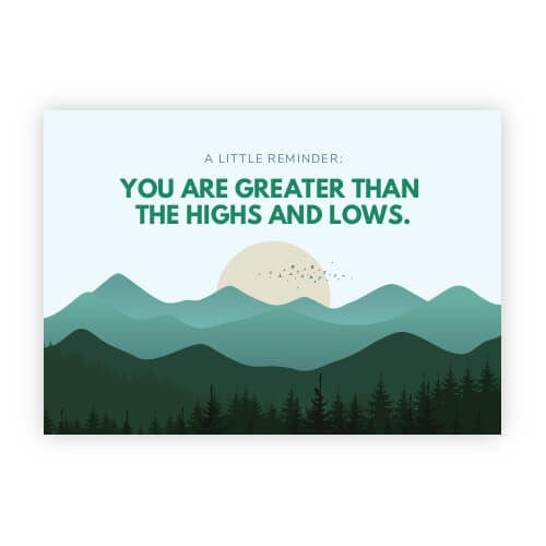 "Image of Diabetes Postcard ""You Are Greater Than The Highs And Lows"""