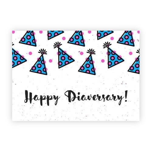 "Image of Diabetes Postcard ""Diaversary Party Hats"""