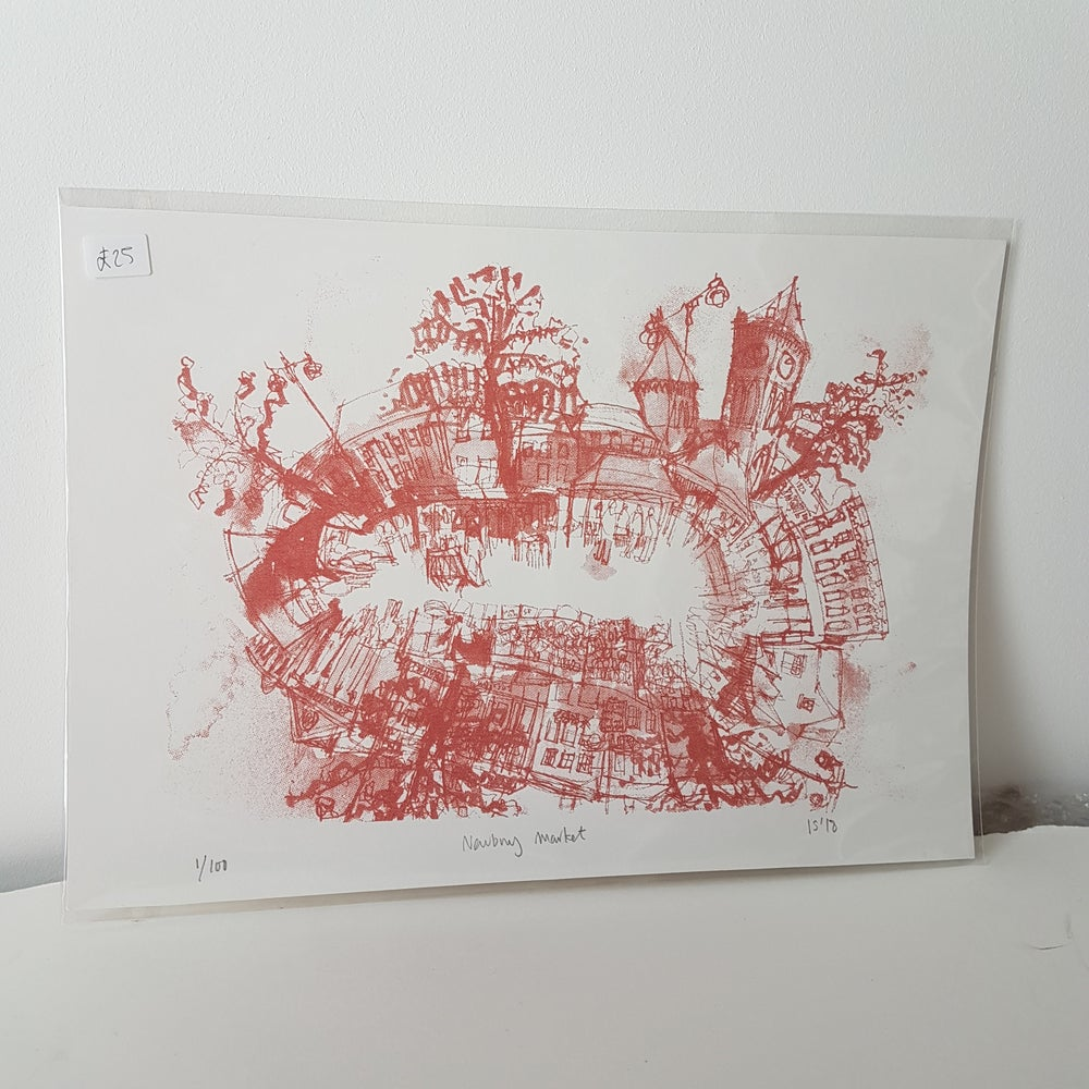 Image of Newbury Market Silkscreen print A4  - Red Siena