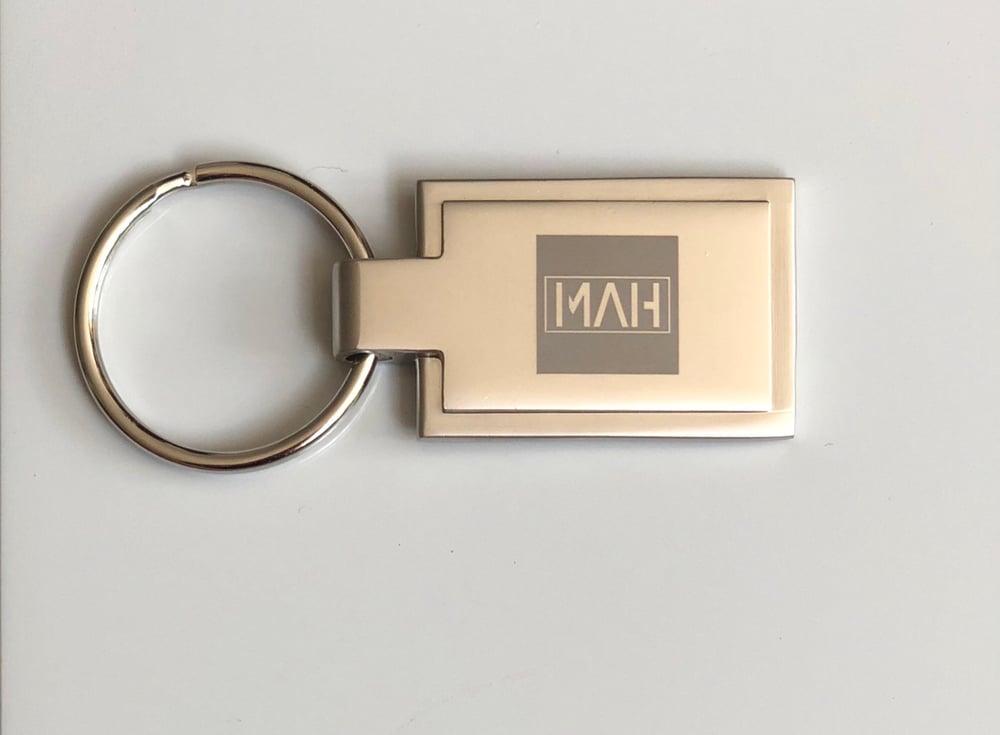 Image of MAH Silver satin finish metal keyring