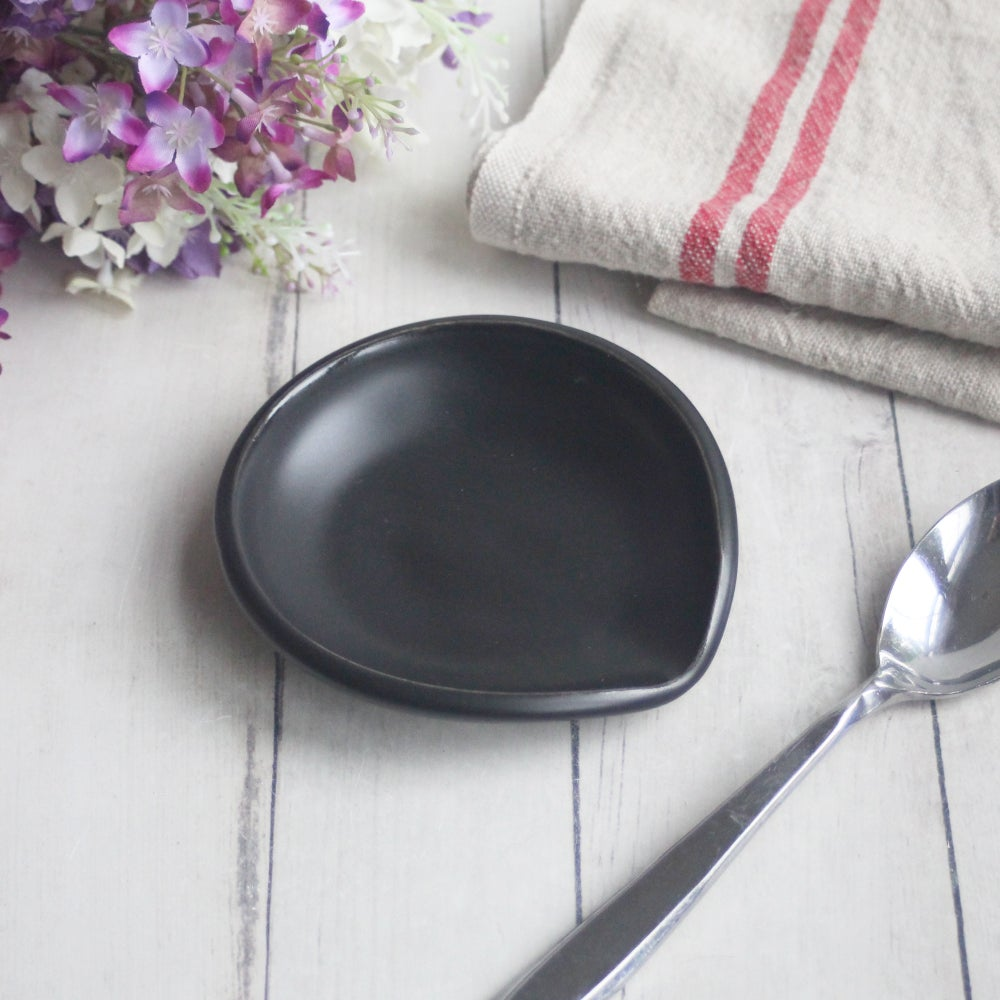 Image of Satin Black Spoon Rest, Handmade Ceramic Coffee Spoon Dish, Made in USA