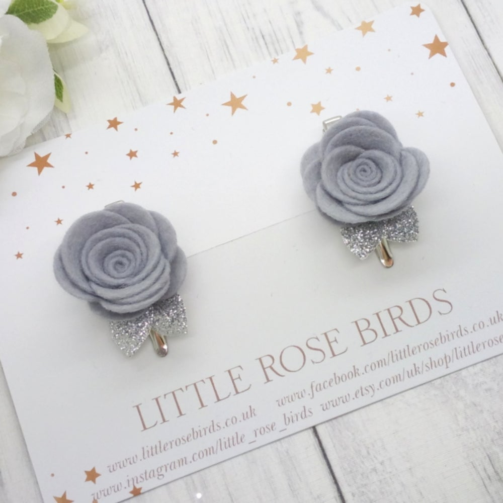 Image of CHOOSE YOUR COLOUR - Medium Felt Rose Pigtail Clips - Choice of 52 Colours