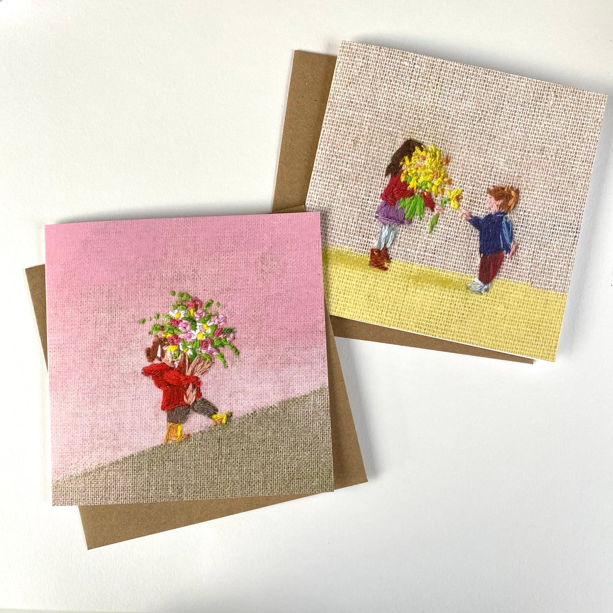 Image of Set of 6 'Embroidered' Luxury Greetings Cards