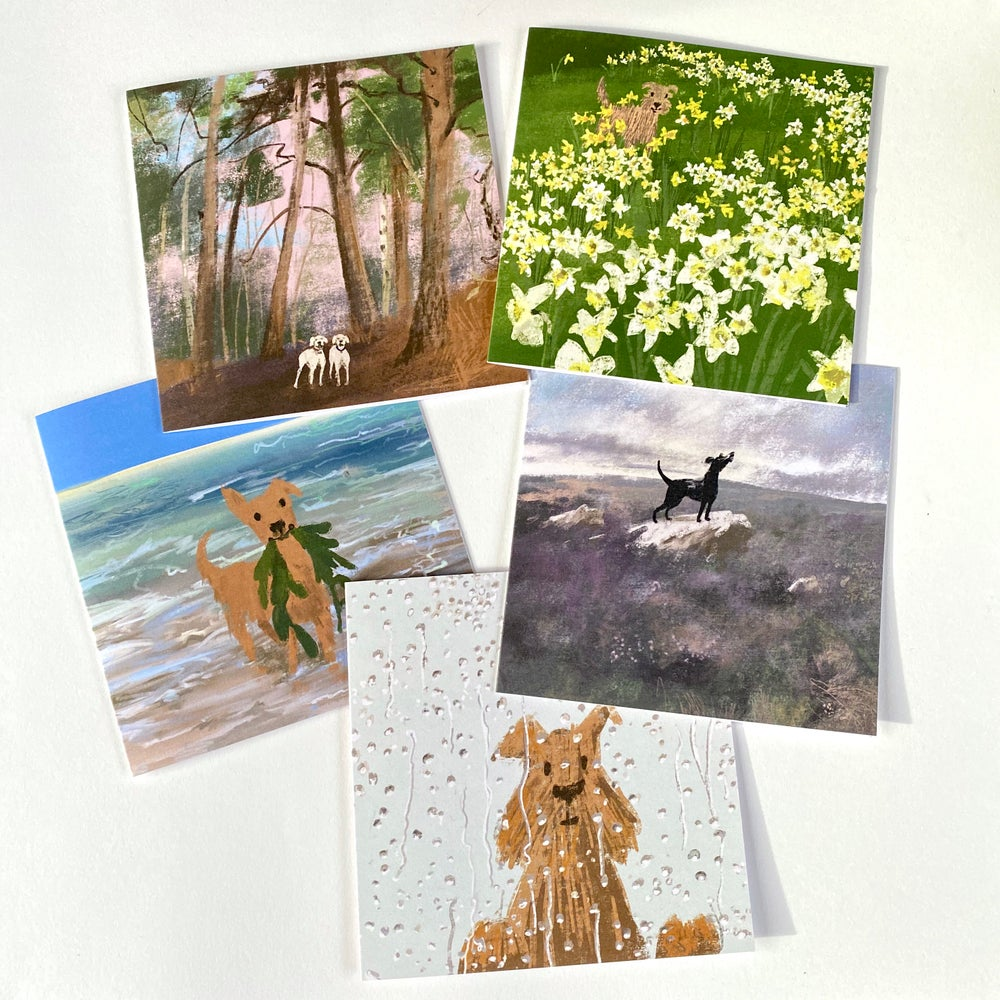 Image of Set of 5 Square Dog luxury greeting cards