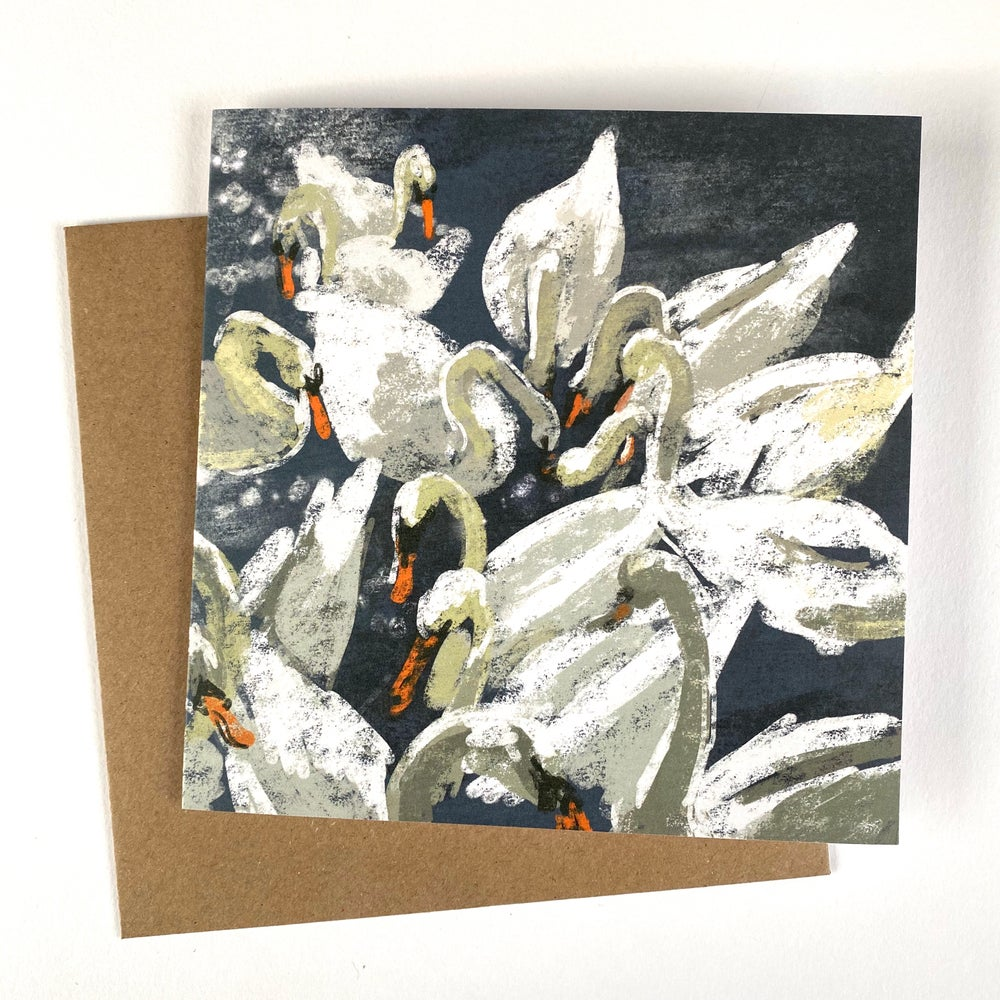 Image of 'Bevy of Swans' luxury greetings card (single or multipack)