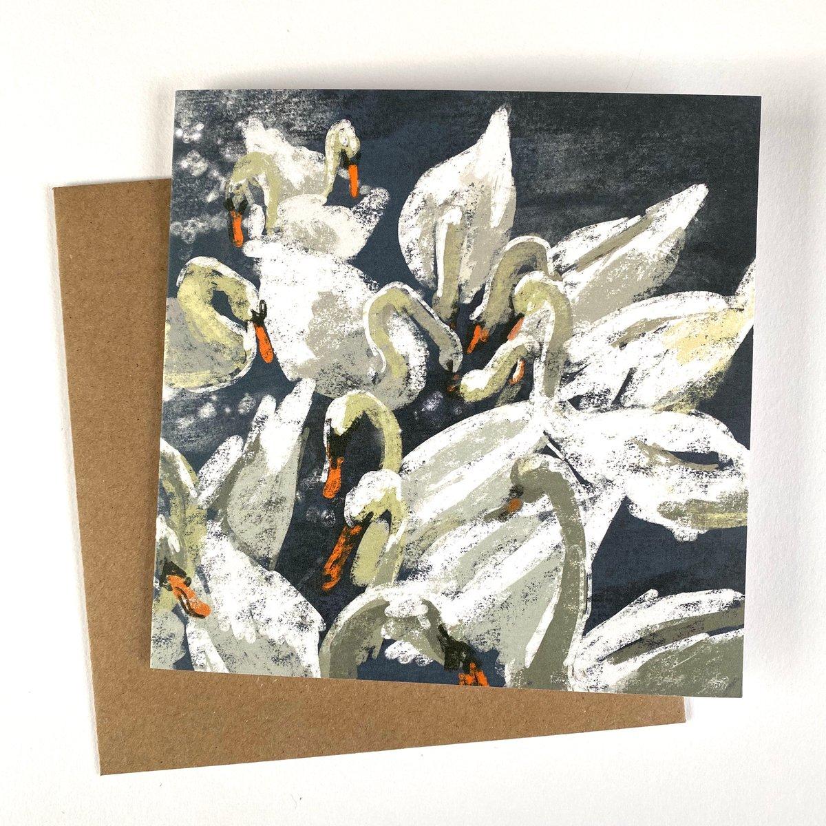 Image of 'Bevy of Swans' luxury greetings card (single or multipack)