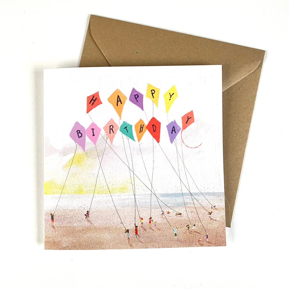 Image of 'Kites' luxury greetings card (single of 4 pack)